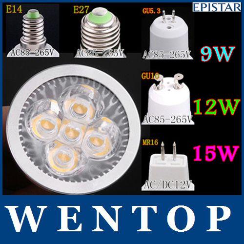 GU10 GU5.3 E27 E14 MR16 15W Dimmable 5*3W LED Sport light lamp High Power bulb warm cool white 80W DC12V AC 110V 220V 240V(China (Mainland))