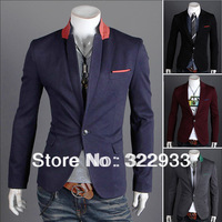Promotion!2014 men's clothing blazer outerwear suit slim casual suits men blazer 4 Color(M-L-XL-XXL) Wholesale Free shipping