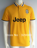 New 2013 2014 Top Thailand Quality Juventus Away Yellow Soccer Jersey,soccer Football uniforms free shipping, Size: S - XL