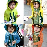 free shipping 2014 spring cartoon rabbit baby child clothing boys fleece with a hood outerwear sweatshirt
