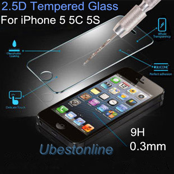0.3mm Ultra Thin 2.5D 9H Tempered Glass For iPhone 5 5C Iphone 5S Screen Protector Anti Shatter Film Retail Box Free Shipping