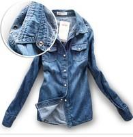 2014 Hot Sale Fashion Turn-Down Collar Medium-Long Denim Shirt Casual Shirt For Women Long Sleeve Slim Jeans Blouse & Shirt