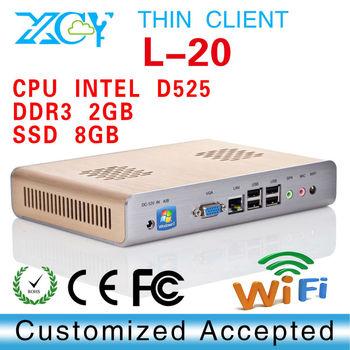 Mini ITX Case net computer XCY L20 Dual Core Intel D525 1.8GHz,8G ssd Network Storage Desktop Smart Hotel PC