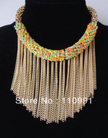 2013 New Arrival Unique Design Fashion Long Tassel 3colors Pink Blue yellow Choker Chunky Bib Chain Statement Necklace For Women