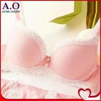 New 2014 women bra set Cloer single-bra female pink cozy cotton sweet underwear thin cup bra & brief sets