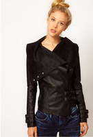 2014 new  2013 new Fashion women  irregular washed pu leather suede knitted stitching leather jacket