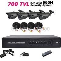 Home 700TVL 4CH CCTV Security Camera System 8CH DVR 700TVL Outdoor Day Night IR Camera DIY Kit Color Video Surveillance System