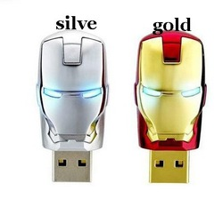 Free shipping new iron man u disk 10pcs/lot gold or silve avengers ironman model USB 2.0 Flash Memory Drive Stick (Metal mask)(China (Mainland))