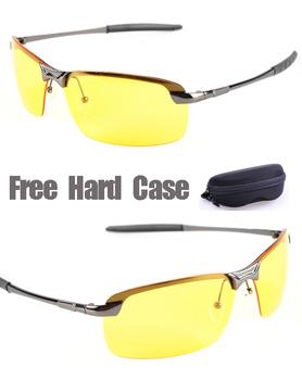 New 2014 Sport Glasses Men Polarized Driving Sunglasses Yellow Lense Night Vision Driving Glasses Polaroid Goggles Reduce Glare