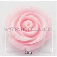 Resin Beads,  Mother's Day Gift Beads,  Flower,  Pink,  Size: about 21mm in diameter,  13mm thick,  hole: 2mm