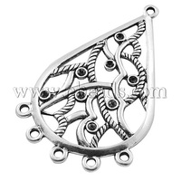 Alloy Rhinestone Connector Settings,  Lead Free and Nickel Free,  Drop,  Antique Silver,  about 50mm long,  30mm wide