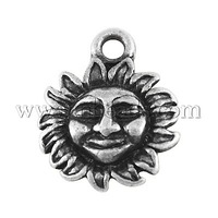 Closeout Alloy Pendants,  Lead Free,  Sun,  Antique Silver,  15x13x2.5mm