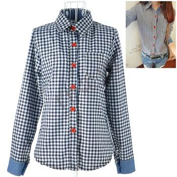 Women's Cotton Plaid Check Pattern long sleeve Shirt Blouse Free Shipping 8926