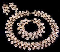 Jewelry New lady's 14k crystal pearl earring bracelet necklace R3221