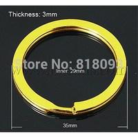 Iron Split Key Rings,  Golden,  35x3mm