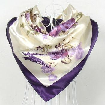 2015 New Arrival Popular Style Women Silk Scarf Printed 90*90cm Purple Square Scarf Shawl Ladies' kerchief Plus Size Scarves