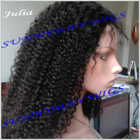 5A+ Grade Indian Remy Hair Full Lace Wig #1b Hair Color 150% Density Afro Kinky Curly