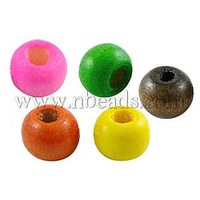 Stock Deals Wood Beads,  Lead Free,  Round,  Dyed,  Mixed Color,  7x6mm,  Hole: 3mm