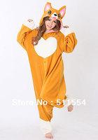 Quick Free Shipping One Piece High Quality Polar Fleece Corgi Dog Winter Adults Animal Onesies Pajamas And Cosplay Costumes