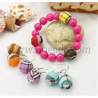Jewelry Sets,  Earrings and Bracelets,  with Round Handmade Woven Beads,  DeepPink,  45mm inner diameter,  36mm long