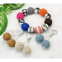 Jewelry Sets,  Earrings and Bracelets,  with Round Handmade Woven Beads,  White,  45mm inner diameter,  51mm long