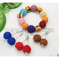 Closeout Jewelry Sets,  Earrings and Bracelets,  with Round Handmade Woven Beads,  DarkOrange,  45mm inner diameter,  51mm long