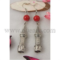Fashion Earrings,  with Tibetan Style Pendant,  Glass Beads and Brass Earring Hooks,  Red,  70mm
