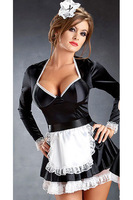Cheapest Wholesale Open Front Hot Sexy Plus Size Cheap French Maid Costume & Panty LB2365