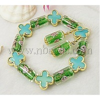 Fashion Jewelry Sets: Earrings and Bracelets,  with Column Lampwork Beads and Flower Acrylic Beads,  Green