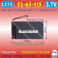 [L273] 3.7V,5000mAH,[5265115] PLIB (polymer lithium ion / Li-ion battery) for tablet pc,GPS,MID;POWER BANK;NOVO7 Fire / Flame