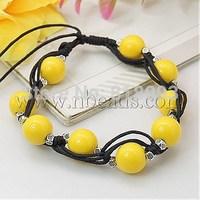 Fashion Wax Cord Bracelets,  with Acrylic Beads and Tibetan Style Beads,  Yellow,  210mm