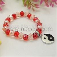 Fashion Glass Bracelets,  with Alloy Enamel Pendants,  Pink,  55mm