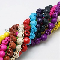 "Synthetic Howlite Beads,  Dyed,  Halloween,  Skull,  Mixed Color,  9x7.5x9mm,  hole: 1mm,  15.7"",  about 40pcs/strand"