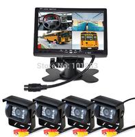 "4 x 18 LED CCD reverse Camera + 7"" TFT LCD 4CH Video Quad Splitter Car Monitor Rear view Kit FREE DHL"