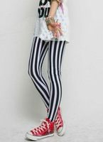 Black and white vertical striped leggings zebra sexy 2013 fashion  Free Shipping