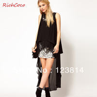 New 2013 Sexy Blouse Women Chiffon Shirt Longe Forked-Tail Asymmetry Backless Autumn -Summer Runway Blusas Free Shipping C052