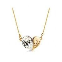 Korea fashion jewelry love letters gold plated short elegant lady crystal pendant necklace Austria SWA elements crystal NE18