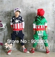 In stock flag (of a country) design boy and girls clothing summer long sleeves clothing sets free fashion suits free shipping