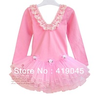 Free Shipping Baby Girls Autumn  Rose Ballet TUTU Dress Lace Latin Exercise Dress Ruffle Long Sleeve PInk/Blue 1086