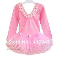 Free Shipping Baby Girls Autumn  Rose Ballet TUTU Dress Lace Latin Exercise Dress Ruffle Long Sleeve PInk/Blue 1086