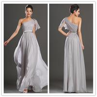 New 2014  Evening Dress Chiffon Long Dress One Shoulder dresses
