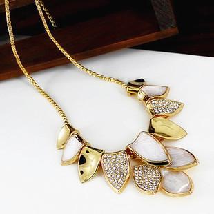 New Korean Fashion Women Elegant Rhinestone Wedding Jewelry Metal Leaves Gold Chain Choker necklace,mix $5 Free shipping