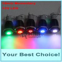 50pcs/Lot 16mm 12V LED Illuminated Car/Automotive ENGINE START/POWER START Momentary Black Metal Push Button Switch (DHL SHIP)