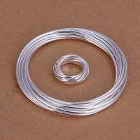 Free Shipping Wholesale 925 Sterling Silver Jewelry Sets,925 Silver Fashion Jewelry,10 Circles Bangle&Ring SMTS304