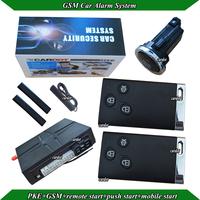 PKE smart  car alarm,auto lock or ulnlock,GSM car alarm with free APP software download,remote start,SMS engine off,push start