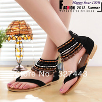 Beading Rome Fashion Women's Sandals 2014 Summer Genuine Leather Shoes for Women Summer Shoes Beach Flip Flops Free Shipping