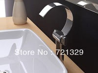 free shipping+2013  new style waterfall Chrome plated bass arc basin faucet/tap bathroom  products