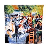 "100% Silk Pierre-Auguste Renoir's ""Dance at Le Moulin de la Galette"" Square Scarf Shawl Hijab Fashion Scarves 2014 Blue/Green"