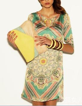 Fast Ship ! 2014 High Quality Digital Summer Fashion New Women  Brand Vintage Print Novelty Casual Dress