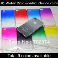 3D Water Drop Dripping Ultra Thin Hard crystal Case Cover for iphone 4 4S gradual change color design 10pcs a lot free shipping